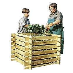Demmelhuber Komposter Holz mit Stecksystem imprägniert 100 x 100 x 70 cm Holzkomposter Kompostsilo Brettkomposter Kompostbehälter