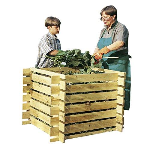 Komposter Holz mit Stecksystem imprägniert 100 x 100 x 70 cm Holzkomposter Kompostsilo Brettkomposter Kompostbehälter