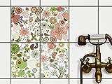 creatisto Fliesen zum Aufkleben | Klebe-Fliesenaufkleber Küchenfliesen Bad-Folie Wanddeko | 20x25 cm Design Motiv Flower Pattern - 4 Stück