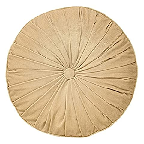 Paoletti Wellesley Chenille Velvet Woven Filled Round Cushion, Natural, 40 Cm