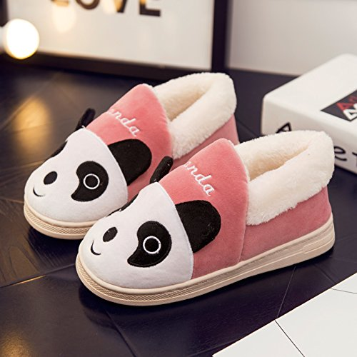 DogHaccd pantofole,Scarpe di cotone di donne caldo inverno soggiorno scarpe carine le coppie pacchetto radice pantofole di cotone felpato scarpe pantofole Donne Uomini Rosa4