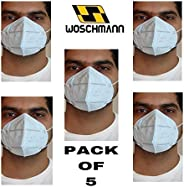Woschmann-KN95 Mask Good for Air Pollution Germs (Pack of 5)-White