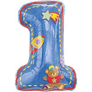 Anagram 11100201 - Party und Dekoration - Folienballon SuperShape - 1. Geburtstag Junge, circa 48 x 71 cm