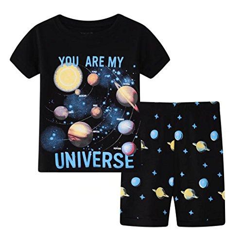 Kleine Jungs Pyjama-Sets Kurzarm Universum Baby Pyjama Kinder 2 Stück Nachtwäsche Größe 2 Jahre 100 % Baumwolle (Bequeme Stück Passform 2 Schlafanzug)