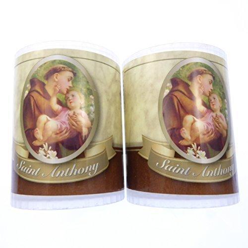 2x St. Anthony Kerzen Brennt 24h Bild Vorne Gebet Hinten 6.35cm Hoch