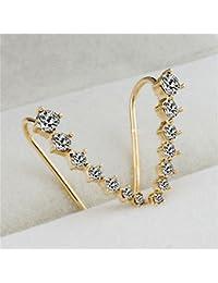 VANKER 1 Par Mujeres del oído del pendiente del gancho Rhinestone del cristal plateado del oído del perno prisionero del oído del clip (dorado)