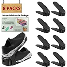 Soporte de calzado con ranura ajustable para ordenar| organizador de calzado con ranura ajustable (8PCS-Negro) Ahorro de espacio de Almacenamiento de