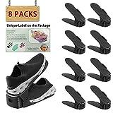 Réglable à chaussures, pour empiler les chaussures réglable Organiseur de économie d'espace à chaussures support Rack koobea (8 paires de chaussures) (Black)