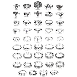 Adramata 44 Pcs Vintage Knuckle Ringe für Frauen Bohemian Finger Stackable Rings Set