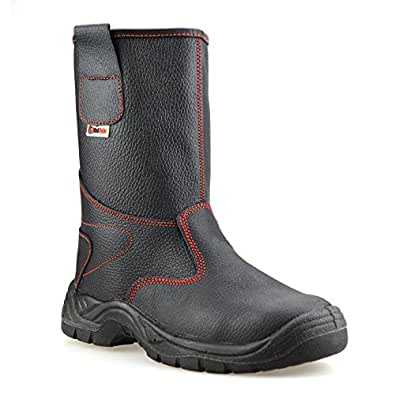 Mens Leather Safety Steel Toe Cap Pull On Winter Work