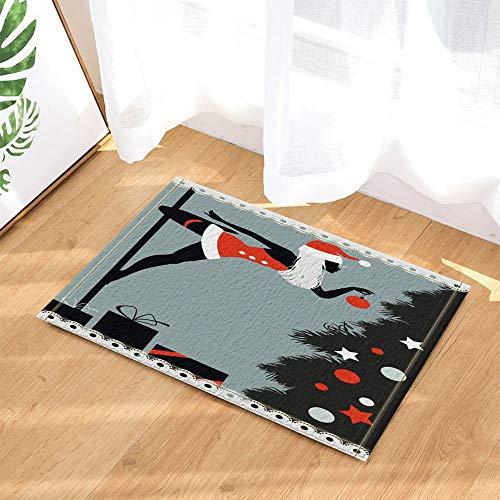 YYAANNGG Polartänzer des neuen Jahres gekleidet als Weihnachtsmann Badteppich rutschfeste Türmatte Wohnzimmer Kinderteppich Badezimmerzubehör 40x60cm