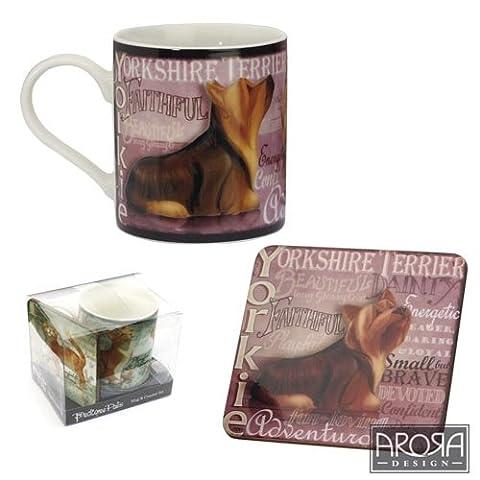 Yorkie Yorkshire Terrier 8309 Mug & Coaster Set - My Pedigree Pals By Arora (Yorkshire Terrier Coaster)