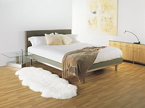 Schaffell Lammfell Teppich Kaminvorleger Bettvorleger Läufer 2-fach 180x60cm weiss