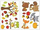 Samunshi® 24-teiliges Herbst Tiere Wandtattoo Set Kinderzimmer Babyzimmer in 5 Größen (2x16x26cm Mehrfarbig)