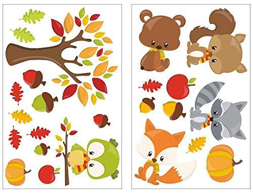 De 24 piezas Otoño Animales pared adhesivo decorativo para habitación infantil, multicolor,...