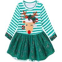 Weihnachtskostüm Babykleidung Hirolan Kleinkind Baby Prinzessin Gestreift Kleid Festliche Kinderkleider Hirsch Drucken Outfits Kinder Langarm Sweatshirt Grün Mädchenkleider