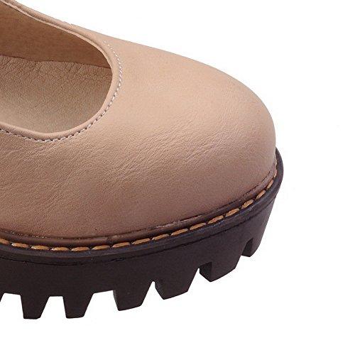 AgooLar Femme Matière Souple Boucle Rond à Talon Haut Couleur Unie Chaussures Légeres Abricot