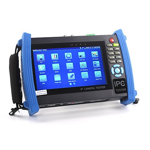 OnvianTech CCTV Tester, 7 Zoll Retina Display 1080P HDMI IP Kamera Tester CVBS Analog Tester Monitor Tester mit POE / IP Discovery / Rapid ONVIF / WiFi / 8G TF Karte / 4K H.265 / HDMI In & Out / RJ45 TDR / Dual Fenster Test / Firmware Update 8600 Plus