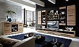 Froschkönig24 VASA 1 Wohnzimmer Komplettset Wohnwand Set inkl. LED-Beleuchtung Eiche San Remo