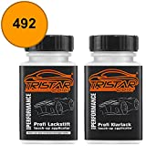 TRISTARcolor Autolack Lackstift Set Aro/Dacia 492 Orange Basislack Klarlack je 50ml