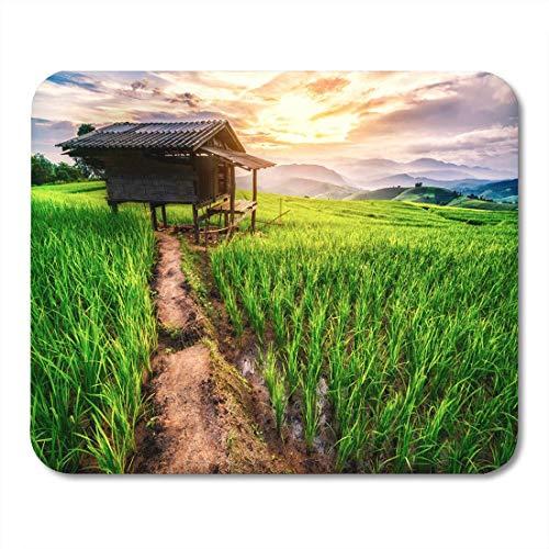 Luancrop Mausunterlage-Sonnenuntergang an der Reis-Feld-Terrasse in Mae Cham Chiang Mousepad für Notizbücher, Tischrechner-Mausunterlagen, Büroartikel - Sonnenuntergang Terrasse