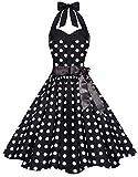 Zarlena Damen 50er Retro Rockabilly Pola Dots Petticoat Neckholder Kleid Schwarz mit weissen Dots Medium 1621