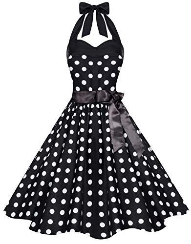 Zarlena Damen 50er Retro Rockabilly Pola Dots Petticoat Neckholder Kleid Schwarz mit weissen Dots Large 4250647215114 Neckholder Petticoat