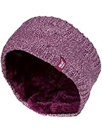 b64ca762264 Heat Holders - Ladies Thick Cable Knitted Fleece Lined Thermal Winter Empty  Skull Ear Warmer Headband