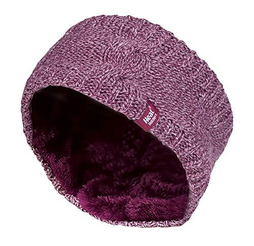 HEAT HOLDERS - Femme Tricot Large Polaire Chaud Hiver Cache Oreilles Bandeau (Headband) (One Size, Rose)