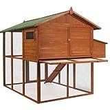 Poulailler en Bois Luxe : 2 Niveaux pondoir - Marron - 200 cm