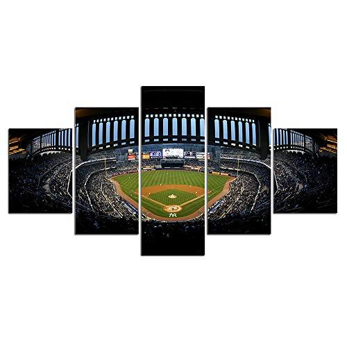 Baseballstadion Sport Wandbilder Wohnzimmer Wandkunst Leinwand Malerei 5 Stücke Baseball Sport Poster Home Decor-Framed_40X60Cmx2_40X80Cmx2_40X100Cmx1