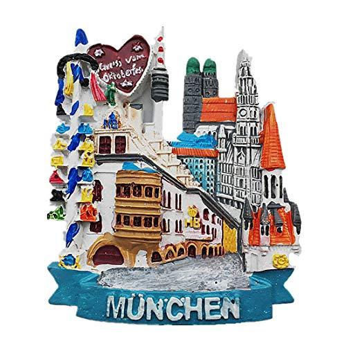 MUYU Magnet Straßenansicht München Deutschland 3D Kühlschrankmagnet Souvenir Geschenk Home & Küche Deko Magnetaufkleber München Deutschland Kühlschrankmagnet - Kühlschrank Deutschland Magnet