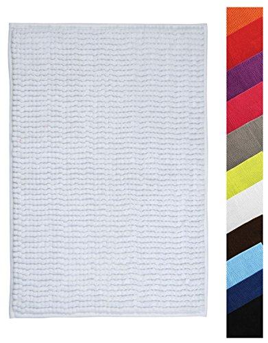 MSV Badteppich Badvorleger Duschvorleger Chenille Hochflor Badematte 60x90 cm – Weiß