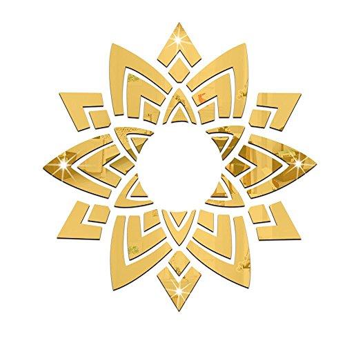 OOFAY& 1 Satz (12 stück) Blumen dekorative spiegel wandaufkleber für wohnzimmer Kronleuchter, 119 * 125,5 cm, gold -