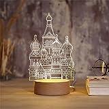Solide bois usb veilleuse créative rêve mini 3D lampe de table chambre chevet simple et moderne,C