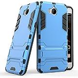 Huawei Y6 2017 Funda, SMTR Ultra Silm Híbrida Rugged Armor Case Choque Absorción Protección Dual Layer Bumper Carcasa con pata de Cabra para Huawei Y6 2017 ,azul