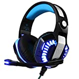 BlueFire Actualizado GM-2 3,5 mm Auriculares ass Stereo Sobre la oreja los Gaming Headset on Control de Volumen Luz LED para PS4 / Xbox One S / PSP / iPad / iPhone / Teléfono Inteligente/ Pc (Azul)