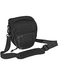 PEDEA DSLR-Kameratasche Fashion Fototasche für Spiegelreflexkameras mit wasserdichtem Regenschutz, Tragegurt und Zubehörfächern (Größe M, schwarz)