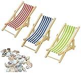 Liuer 3 stücke 1:12 Miniatur Faltbarer Hölzerner Strand Stuhl Liegestuhl Mini Möbel mit Rot/Blau/Grün Streifen Strand Rasen Liegestuhl für Puppenhaus Garten Zubehör mit Und Mini Conch Shells,1 Beutel