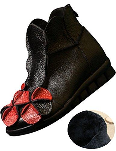 Youlee Femmes Hiver Automne Fleur Bottes plates Bottines Style 2 Black Fur Lining