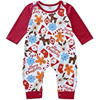 uBabamama Christmas Sale!!! Xmas Cartoon Printed Long Sleeve Jumpsuit Romper for 0-18 Months Toddler Infant Baby Girls(Red,Recommended Age:12-18 Months/86)