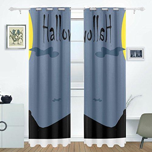 BENNIGIRY Halloween Wolf Howl Druck Verdunklungsvorhänge Abdunkelung isoliert Polyester Tülle Top Rollo Vorhang für Schlafzimmer, 2Panel (55W X 84L Zoll)