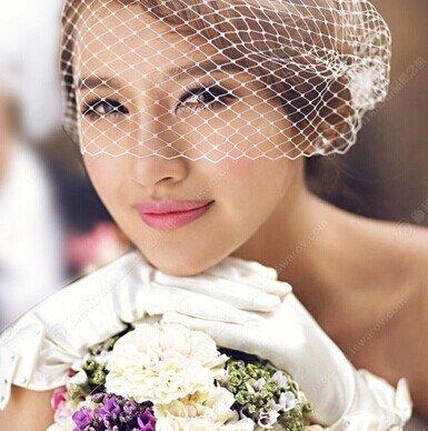 DHC* Hochzeit Schleier Ein-Tier Blusher Schleier Birdcage Schleier Tulle Weiß (Stirnband Birdcage)