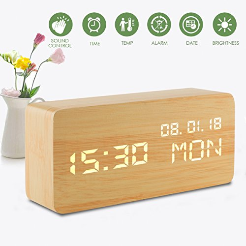 Sveglia Digitale da Comodino, Led Bambini Elettroniche Legno Orologio Cameretta da Tavolo, Usb Batteria Cubo Scrivania Scaffale Alarm Clock con Data Ora Temperatura Display Luminosa, Controllo Vocale Sveglie