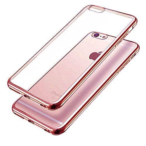 Chrom Hülle iPhone 6 / 6S iMonster Ultra Slim Dünn Schutz Cover TPU Case Silikon Tasche Metallic Bumper Tasche Schale Schutzhülle Pink Handy Transparent Crystal Chrome Rose