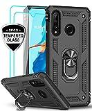 LeYi Cover per Huawei P30 Lite con 2 Pellicola in Vetro Temperato, 360° Rotante Anello Magnetica Supporto Difesa Militare TPU Case Silicone Custodia per Huawei P30 Lite /P30 Lite New Edition Nero
