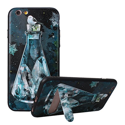 Coque Dure Pour iPhone 6 Plus / 6S Plus, Asnlove 2 in 1 TPU Silicone et PC Plastique Cas Relief Étui Mode Motif Exquis Housse Sentiment Mystique Cover Soulagement Case Noir Rigide Shell, Style-1 Style-6