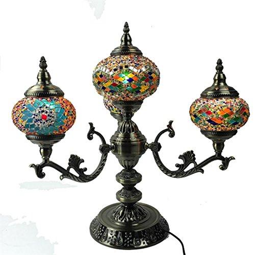 XINYE Rétro 4 Lumière Grand Lampe de table avec Coloré Mosaïque Verre pour Salon Bar Décoration, B