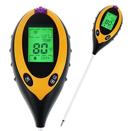 TekcoPlus 4-in-1 Digitales Bodenmessgerät für den Innen- und Außenbereich, pH-Säure-Tester, Sonnenlicht, Feuchtigkeitstemperatur, für Garten, Bauernhof, Rasen, Blumen, Pflanzen