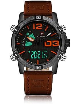 NAVIFORCE Herren Dual Display Quarz Digital Armbanduhr Sport Uhr Leder Bügel Wasser-Beweis Mann-beiläufige Armbanduhr...